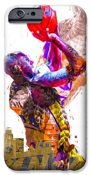 Kobe Bryant Los Angeles Lakers Digital Painting Snake 1 IPhone 6s Case by David Haskett