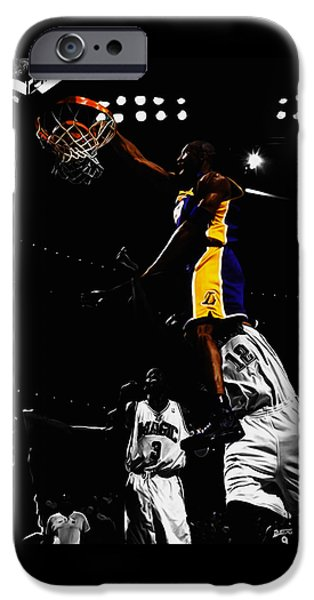 Kobe Bryant On Top Of Dwight Howard IPhone Case by Brian Reaves