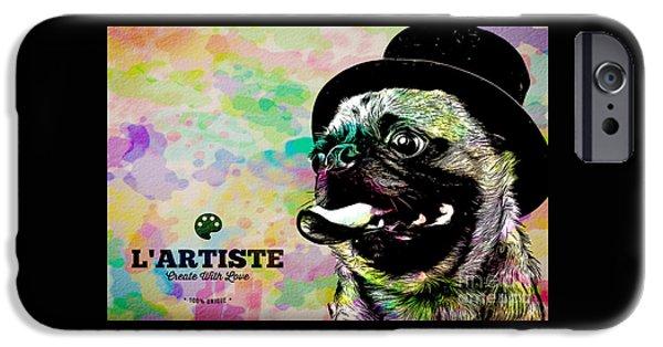 L Artiste Pug IPhone Case by Edward Fielding