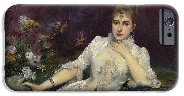 La Dame Avec Les Fleurs IPhone Case by Louise Abbema