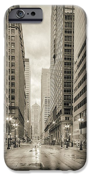 Lasalle Street Canyon With Chicago Board Of Trade Building At The South Side - Chicago Illinois IPhone 6s Case by Silvio Ligutti