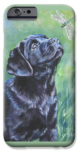 Labrador Retriever Pup And Dragonfly IPhone Case by Lee Ann Shepard