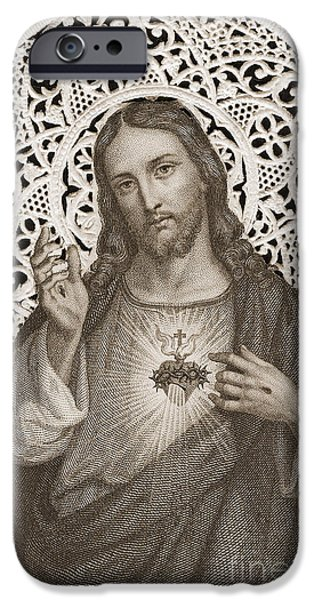 Lace Card Depicting The Sacred Heart Of Jesus IPhone Case by French School