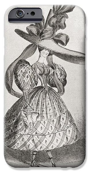 Ladies Fashion In 1828, Wasp Waist IPhone Case by Vintage Design Pics