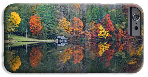 Lake Logan Boathouse In Fall IPhone Case by Mike McGlothlen