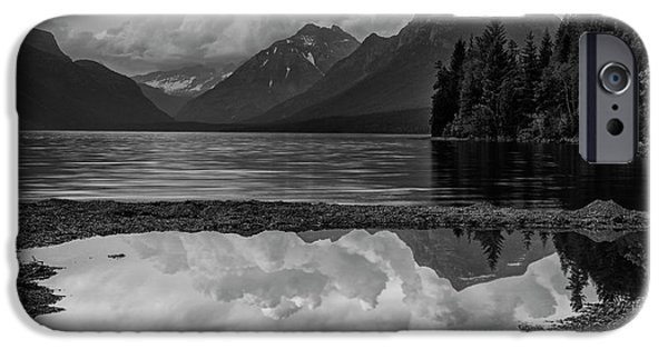 Lake Mcdonald Sunset In Black And White IPhone Case by Mark Kiver