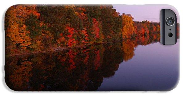 Lake Nockamixon Twilight Reflection In Autumn IPhone Case by Anna Lisa Yoder