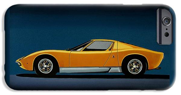 Lamborghini Miura 1966 Painting IPhone Case by Paul Meijering