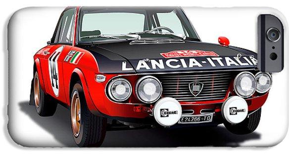 Lancia Fulvia Hf Illustration IPhone Case by Alain Jamar