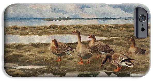 Landscape With Geese IPhone Case by Celestial Images