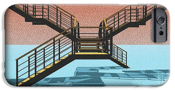 Large Stair 38 On Cyan And Strange Red Background Abstract Arhitecture IPhone 6s Case by Pablo Franchi