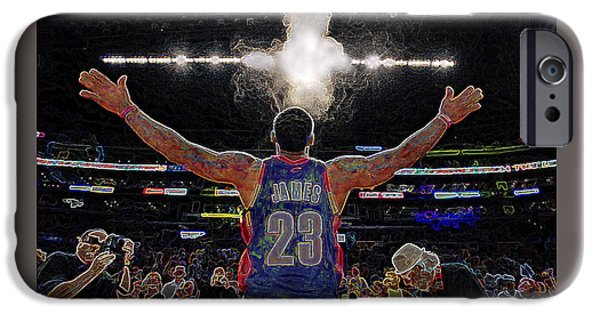 Lebron James Chalk Toss Basketball Art Landscape Painting IPhone Case by Andres Ramos