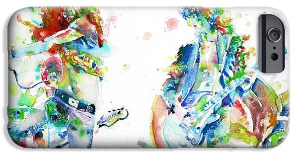 Led Zeppelin Live Concert - Watercolor Portrait.1 IPhone Case by Fabrizio Cassetta