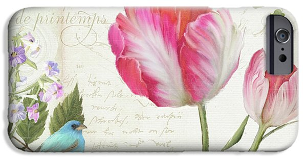 Les Magnifiques Fleurs IIi - Magnificent Garden Flowers Parrot Tulips N Indigo Bunting Songbird IPhone Case by Audrey Jeanne Roberts