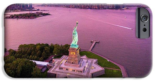 Liberty Island Twilight IPhone Case by Inge Johnsson