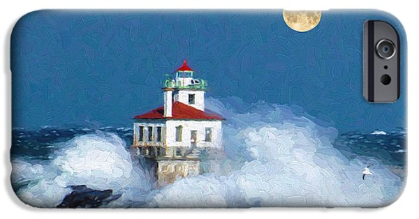 Lighthouse Moon IPhone Case by Garland Johnson