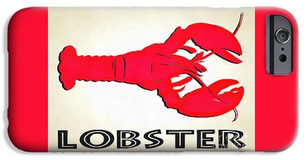Lobster Sign Folk Art IPhone Case by Edward Fielding