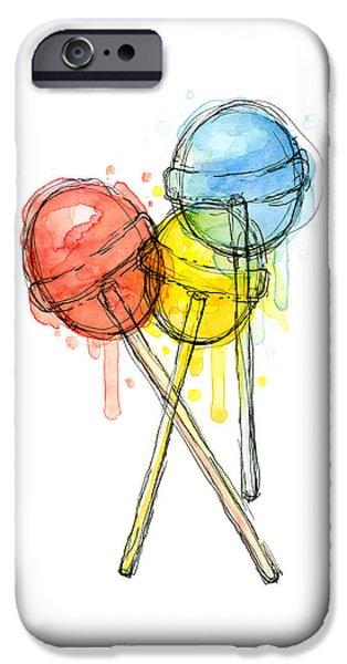 Lollipop Candy Watercolor IPhone 6s Case by Olga Shvartsur