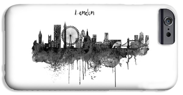 London Black And White Skyline Watercolor IPhone 6s Case by Marian Voicu