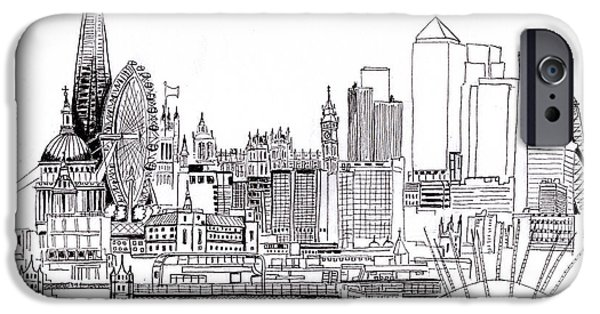 London Medley Monochrome IPhone Case by Callan Percy