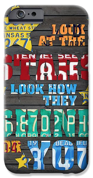 Look At The Stars Coldplay Yellow Inspired Typography Made Using Vintage Recycled License Plates IPhone 6s Case by Design Turnpike