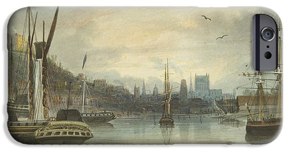 Looking Up The Floating Harbor Towards The Cathedral IPhone Case by Thomas Leeson the Elder Rowbotham