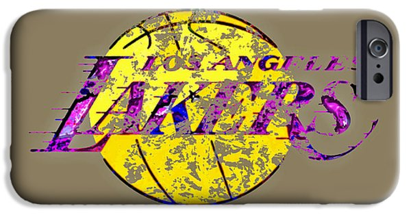 Los Angeles Lakers Paint Splatter IPhone Case by Brian Reaves