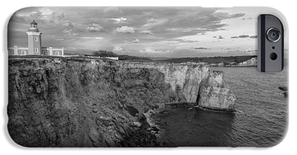 Los Morrillos Lighthouse In Black And White IPhone Case by Andres Leon