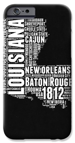 Louisiana Black And White Word Cloud Map IPhone 6s Case by Naxart Studio