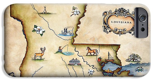 Louisiana Map IPhone Case by Judy Merrell