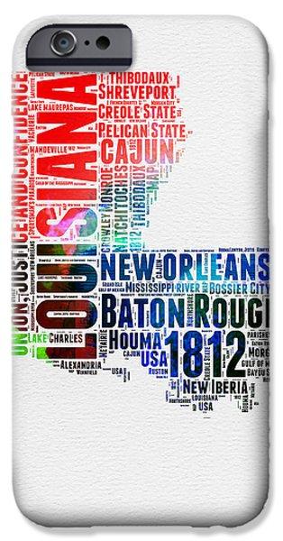 Louisiana Watercolor Word Cloud Map  IPhone 6s Case by Naxart Studio