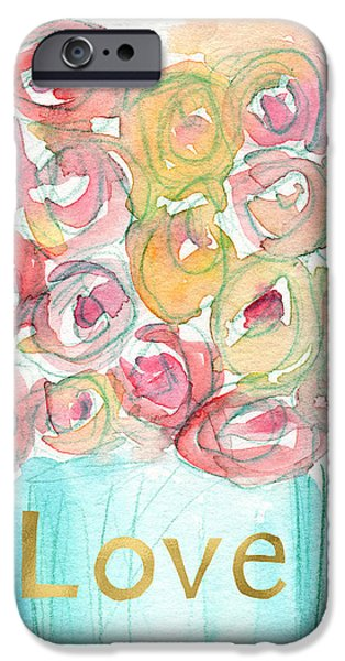 Love And Roses- Art By Linda Woods IPhone Case by Linda Woods