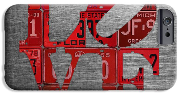 Love Sign Philadelphia Recycled Red Vintage License Plates On Aluminum Sheet IPhone Case by Design Turnpike