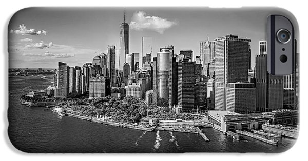 Lower Manhattan Aerial View Bw IPhone Case by Susan Candelario