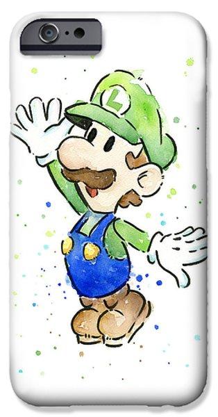 Luigi Watercolor IPhone Case by Olga Shvartsur