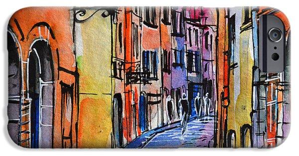Lyon Cityscape - Street Scene #01 - Rue Saint Georges IPhone Case by Mona Edulesco
