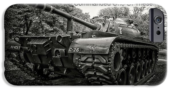 M48 Patton Tank Front View Custom Text IPhone Case by Thomas Woolworth