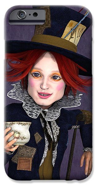 Mad Hatter Portrait IPhone Case by Methune Hively