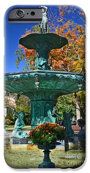 Madison Water Fountain In Fall IPhone Case by Amy Lucid