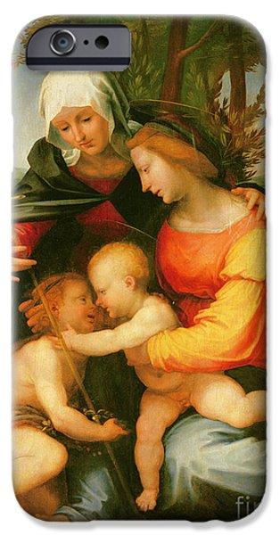 Madonna And Child  Saint Elizabeth And The Infant Saint John The Baptist IPhone Case by Fra Bartolomeo
