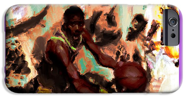 Magic Johnson In The Paint IPhone Case by Brian Reaves