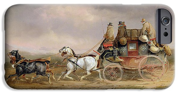Mail Coaches On The Road - The Louth-london Royal Mail Progressing At Speed IPhone Case by Charles Cooper Henderson