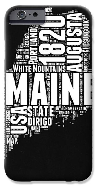 Maine Black And White Map IPhone Case by Naxart Studio
