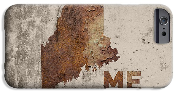 Maine State Map Industrial Rusted Metal On Cement Wall With Founding Date Series 021 IPhone Case by Design Turnpike