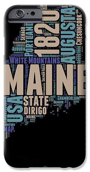 Maine Word Cloud 1 IPhone Case by Naxart Studio