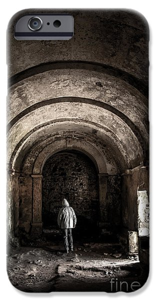 Man Inside A Ruined Chapel IPhone Case by Carlos Caetano