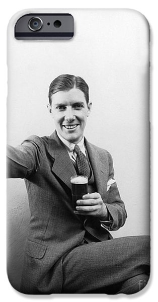 Man With Beer, C.1930s IPhone Case by H. Armstrong Roberts/ClassicStock