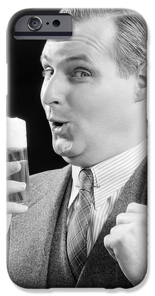 Man With Glass Of Beer, C.1930s IPhone Case by H. Armstrong Roberts/ClassicStock