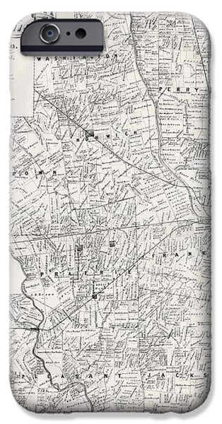 Map Of Franklin County Ohio 1883 IPhone Case by Mountain Dreams