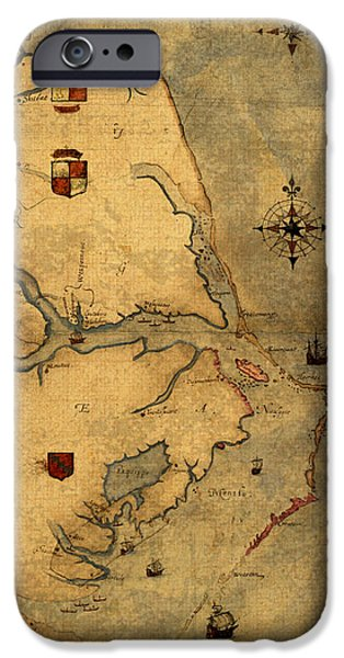 Map Of Outer Banks Vintage Coastal Handrawn Schematic On Parchment Circa 1585 IPhone Case by Design Turnpike